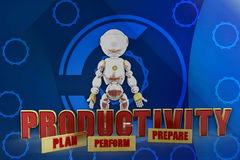 3d robot productivity illustration Stock Images