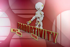 3d robot productivity illustration Royalty Free Stock Photo