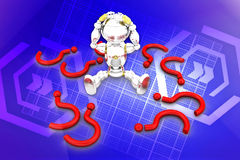 3d  robot with question marks illustration Royalty Free Stock Images