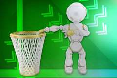 3d robot recycle bin illustration Royalty Free Stock Photography