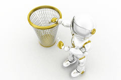 3d robot recycle bin Royalty Free Stock Images