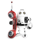 3d Robot with red phone tube. . Contains clipping path Stock Images