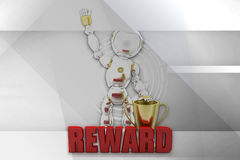 3d robot reward illustration Stock Photos