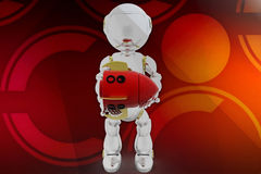 3d robot rocket illustration Royalty Free Stock Image