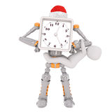 3d robot in Santa hat with clock on face and child. Child hanging on 3d robot with Santa hat and clock on face, white background Royalty Free Stock Image