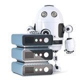 3d Robot with Server rack. . Contains clipping path Royalty Free Stock Photography