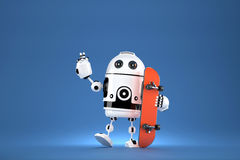 3D Robot with skateboard. 3D illustration. Contains clipping path.  Stock Image