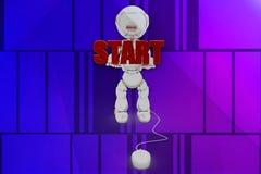 3d robot start illustration Stock Photos