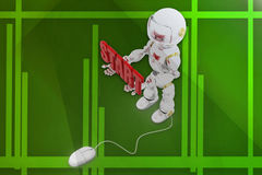 3d robot start illustration Royalty Free Stock Photos