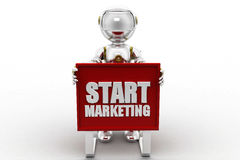 3d robot start marketing Stock Photography