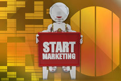 3d robot start marketing illustration Stock Photography