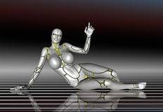 3D Robot Super Girl lifestyle poster sticker.  Royalty Free Stock Photo