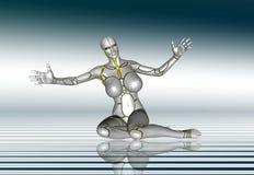 3D Robot Super Girl lifestyle poster sticker.  Stock Photo