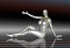 3D Robot Super Girl lifestyle poster sticker.  Stock Image