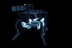 3D Robot Tank Hologram Wireframe in Motion. Nice 3D Rendering Royalty Free Stock Photos