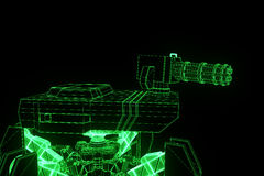 3D Robot Tank Hologram Wireframe in Motion. Nice 3D Rendering Stock Photography