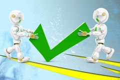 3d robot tick illustration Royalty Free Stock Image