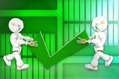 3d robot with tick symbol illustration Stock Photos