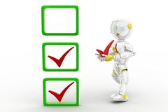 3d robot tick Royalty Free Stock Images