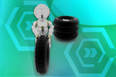 3d robot Tyre illustration Stock Images