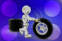 3d robot Tyre illustration Royalty Free Stock Photography