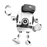 3D robot with VR glasses. 3D illustration. . Contains cl Stock Photo