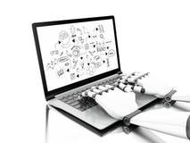 3d Robotachtige handen die op laptop met chemie en wetenschap s typen stock illustratie