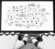 3d Robotic hands typing on a laptop with graduation sketch. 3d illustration. Robotic hands typing on a laptop with graduation sketch. Education concept. Isolated Royalty Free Stock Photography