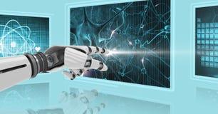 3D robotwapen wat betreft het scherm met medisch beeld Royalty-vrije Stock Afbeeldingen
