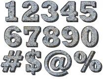 3-D Rock Granite Numbers. Three Dimensional Rock Numbers and Symbols Royalty Free Stock Photo