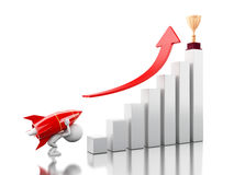 3d Rocket aiming for the top of bar graph. 3d illustration. Rocket aiming for the top of bar graph. Success bussiness concept concept.  white background Stock Photo