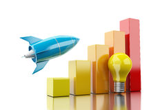 3d Rocket aiming for the top of bar graph. 3d illustration. Rocket aiming for the top of bar graph. Success bussiness concept concept.  white background Royalty Free Stock Photography