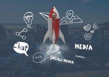 3D Rocket che sorvola città con i grafici sociali dei disegni di media Fotografia Stock Libera da Diritti