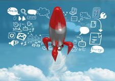 3D Rocket flying and social media icons text with drawings graphics Royalty Free Stock Photography