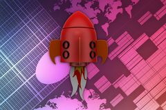 3d rocket illustration Stock Photo