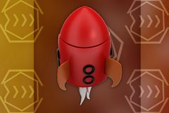 3d rocket illustration Stock Photos