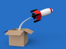 3d rocket launching out of box Royalty Free Stock Photo