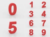 3d rode aantallen van 0 tot 9 Royalty-vrije Stock Foto's