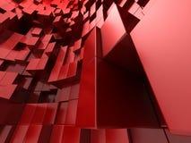 3d rode abstracte achtergrond van kubussen Stock Foto's