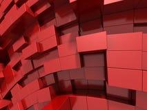 3d rode abstracte achtergrond van kubussen Royalty-vrije Stock Afbeelding