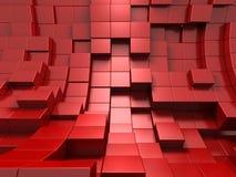 3d rode abstracte achtergrond van kubussen Stock Afbeelding