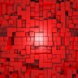 3d rode abstracte achtergrond van kubussen Royalty-vrije Stock Afbeeldingen