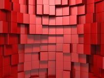 3d rode abstracte achtergrond van kubussen Stock Afbeeldingen