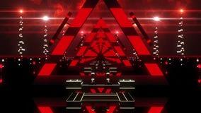 3D Rode Abstracte de Lijnachtergrond van de Driehoekentunnel VJ stock footage