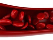 3D rode bloedcellen in slagader vector illustratie
