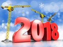3d rode jaar van 2018 Stock Afbeelding