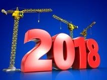 3d rode jaar van 2018 Stock Foto's