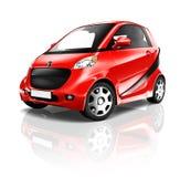 3D Rode Kleine Elektrische Auto Stock Fotografie