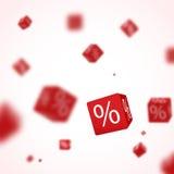 3D rode kortingsdozen dobbelen voor opslagmarkt en winkel Verkoop promotieconcept Royalty-vrije Stock Foto's