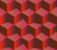 3d rode patroonkubussen Rode achtergrond royalty-vrije stock afbeeldingen